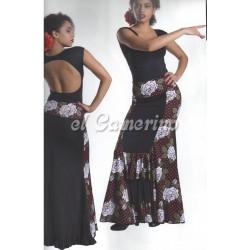 Falda bicolor con cintura vuelta