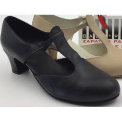 Zapato sandalia con goma -Piel